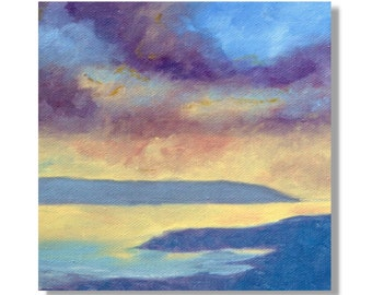 Sale: Stormy Sunset. Original Hand Painted Oil Painting. Size 6 x 6 canvas