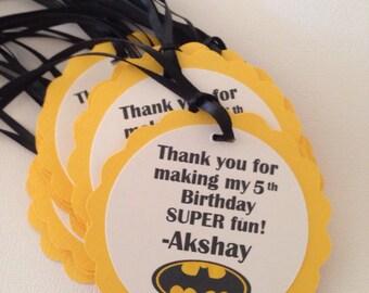 Batman favor tags, batman tags