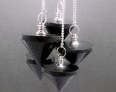 Black Tourmaline Point Pendulum Pendant-- Black Tourmaline Point Pendant with Silver Plated bail (S50B11-01)