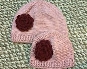 Mommy and Me Beanie Hat With Flower