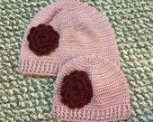 Mommy and Me Beanie Hat With Flower, Usa Seller