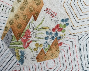 Hexagons and motifs in vintage Japanese silk