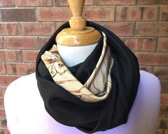 Silk infinity scarf, black and tan