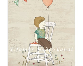 Print baby boy nursery, nursery decor - Boy holding a balloon