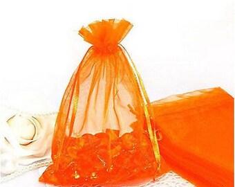 "25pcs Orange Organza Gift bags 3""X4"""
