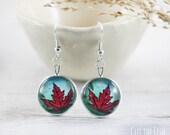 Turquoise Earrings - Earrings - Art Jewelry - Red Earrings - Blue Earrings - Maple leaf Earrings - Unique Earrings by Cut the Fish (4-5E)