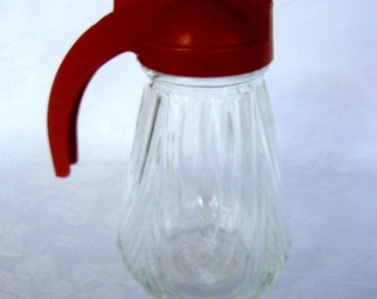 Federal Tool Corp. syrup server red plastic top and swirl glass