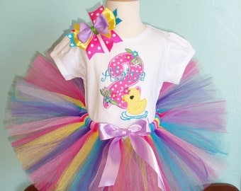 Duck Birthday outfit - Birthday tutu outfit - includes hairbow and name is FREE - Photo Prop