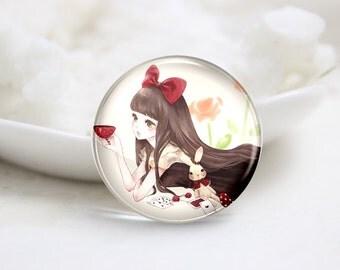 10mm 12mm 14mm 16mm 18mm 20mm 25mm 30mm Handmade  Photo Glass Cabochons -Lovely Girl (P1169)