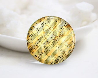 10mm 12mm 14mm 16mm 18mm 20mm 25mm 30mm Handmade Round Photo Glass Cabochon-Music (P1418)
