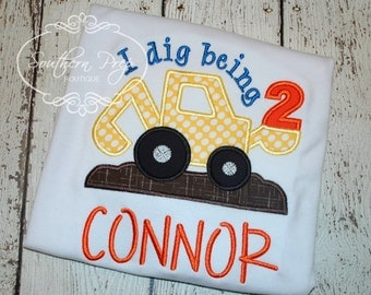I Dig Being 2! Applique Birthday Shirt - Boys Construction theme - Birthday Applique