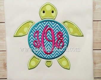 Girl's Monogram Sea Turtle Applique - Summer Shirt - Monogram - Girl's Design - Birthday
