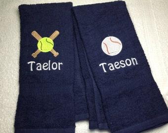 Baseball, Personalized baseball or softball towel, fast turn around, ball gift, pin towel