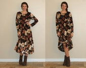 Vintage Velvet Autumn Floral Midi Dress