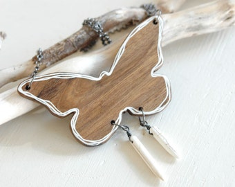 Big wooden butterfly necklace,wood necklace with spikes