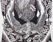 Return to Earth 18 x 24 Linocut by Roger Peet