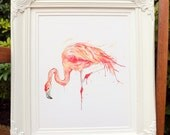 "Giclee Print: Pink Flamingo Series ""Poise"" (Watercolour painting)"
