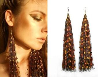 Golden Autumn Color Tassel Earrings / Handmade Fringe Earrings / Fashion Accessory