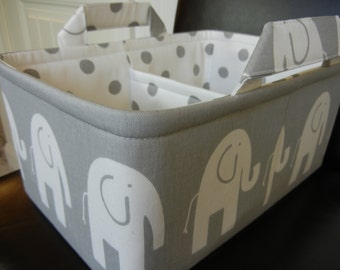 "LG Long Diaper Caddy 8"" x 12"" x 6""(choose COLOR)""One Divider -Baby Gift-Fabric Storage Organizer-Elephant-""White Ele on Grey"""