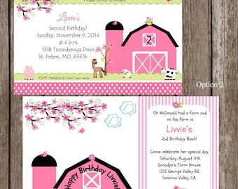 On the farm invitation, farm invitation, farm girl invitations, birthday invitations, pink farm invites, pink farm invitations, pink farm