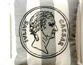 "shabby chic, feed sack, french country, vintage roman coin graphic on grey and taupe stripe 14"" x 14"" pillow sham."