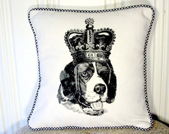 """shabby chic, feed sack, french country, vintage St. Bernard graphic with gingham  welting 14"""" x 14"""" pillow sham."""