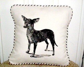 """shabby chic, feed sack, french country, vintage chihuahua  graphic and  french ticking welting 14"""" x 14"""" pillow sham."""