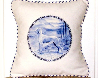 """shabby chic, feed sack, french country, delft Weimaraner with ticking stripe welting 14"""" x 14"""" pillow sham."""