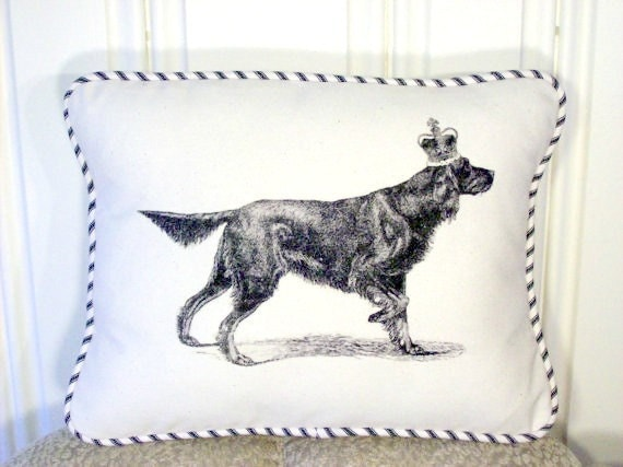 "shabby chic, feed sack, french country, vintage irish setter graphic with ticking stripe  welting 12"" x 16"" pillow sham."