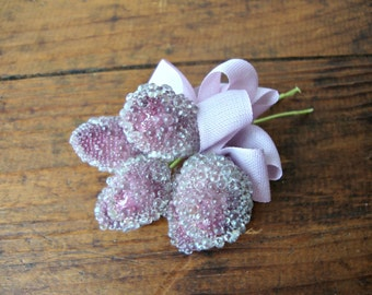 Frosted Sugared Purple Millinery Stamen Bouquet