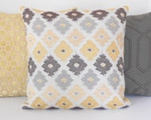 Yellow, taupe, gray and brown chenille ikat decorative pillow cover