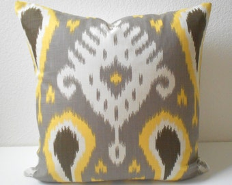 Yellow, taupe, gray and ivory dwell ikat decorative pillow cover