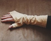 Mustard Pale Yellow Corduroy Floral Fingerless Hand Warmers // Size XS