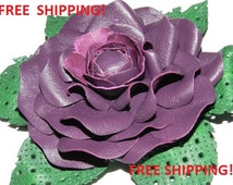 Free shipping! Leather flower brooch! Flower brocch from natural leather Nr.82 - purple color!