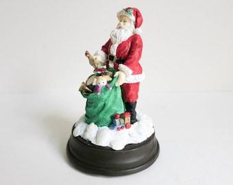 Vintage Miniature Santa Music Box - Plays Jingle Bells - Holiday Figurine - Christmas Decoration