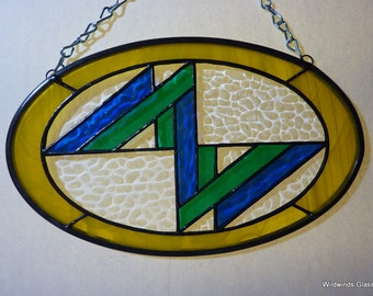 Art Deco Style Oval Stained Glass Suncatcher