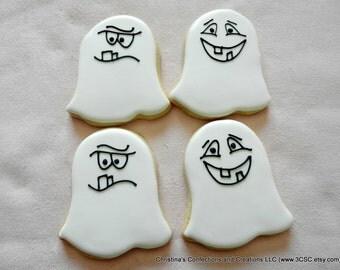 White Halloween Ghost Sugar Cookies (#2495)