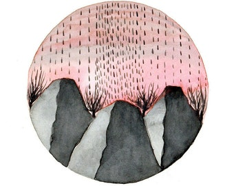 Original Watercolor painting Rain on mountains pink gray grey