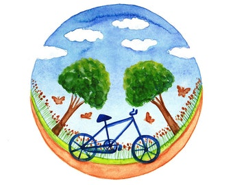 Original illustration Bicycle watercolor painting Spring inspiration