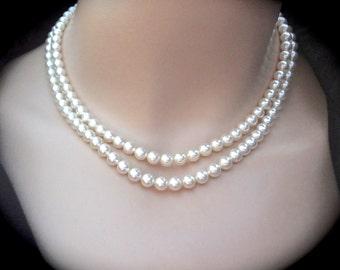 Pearl necklace ~ 2 strand ~ Swarovski pearls ~  Brides necklace ~ Beautiful Swarovski crystal rhinestone clasp ~ Bridal jewelry ~ Classic