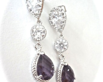 Bridal jewelry - Amethyst earrings - Long - Teardrops - Sparkling - Cubic zirconias - Sterling silver posts - Wedding earrings -