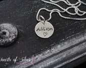 Single Silver Disc Necklace- Personalized Hand Stamped Jewelry- Mommy Jewelry- Sterling Silver Personalized Necklace