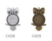 20PCS Owl Shape Zinc Alloy Cameo Cabochon Base Setting Pendants, fit 25mm round cabochons