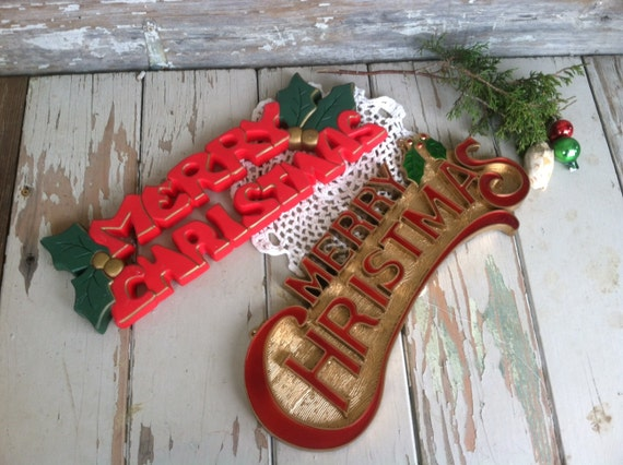 Vintage Christmas Wall Decor : Kitsch retro christmas wall art vintage by happydayantiques