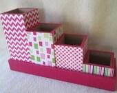 Desk Organizer - Desk Set - Pencil Cup Holder Set - Hot Pink Chevron - Polka Dot - Stripe -  Green - Decoupaged - Gift