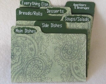 Recipe Box Dividers for Green Paisley Recipe Box - Index Dividers