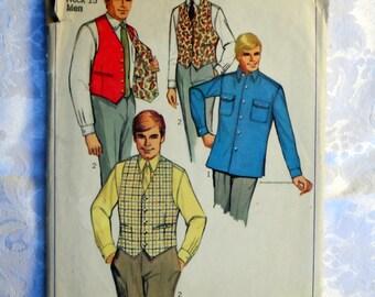 Vintage 1968 Simplicity Pattern 7973 Mens' Shirt and Reversible Vest. Size 15