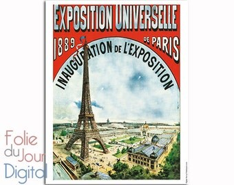 Digital printable art vintage Paris - 1889 eiffel Tower world fair of Paris Exposition Universelle