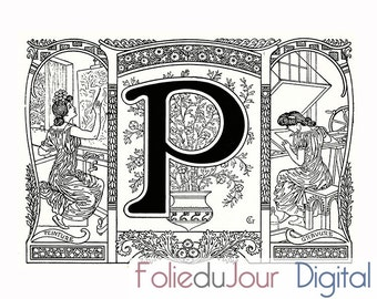 "gift Digital vintage monogram Letter P - Digital file French antique dictionary page - 8.5 x 11"" - Instant Download"