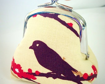 Gift for Her Big Bobble Coin Pouch Bird Blossom Ready to Ship
